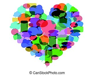 colorful Speech bubble heart