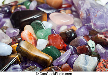 Gemstones - Close-up of colorful semi-precious stones