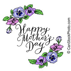 Happy mothers day card with text and frame of vintage...