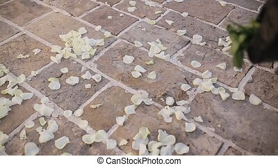 Rose petals on the floor. Wedding tradition of showering...