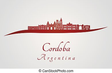 Cordoba AR skyline in red - Cordoba skyline in red and gray...
