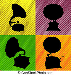 old gramophone background - Pop art, old gramophone...