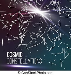 Cosmic Constellations Modern Background Vector. Sparkling Nights Abstract Sky With Stars