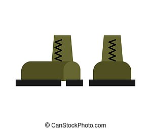 Military boots isolated. Army shoes. Soldiers accessory
