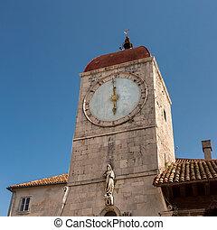 Clock Tower of Saint Sebastian Church in the Center of Trogir, Dalmatia, Croatia