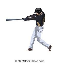 Baseball player hitting ball, isolated vector illustration
