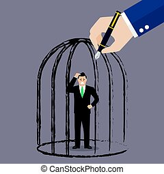 Businessman standing in a hand drawn cage