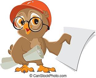 Owl engineer builder in helmet with drawings