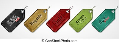 Set of vector sale price tags or labels.