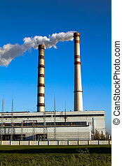 Power station - Working power station about cloudless day...