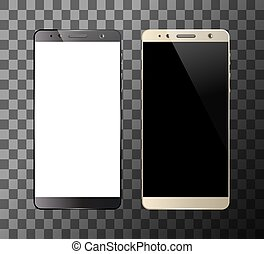 Black and white smartphones isolated on transparent...