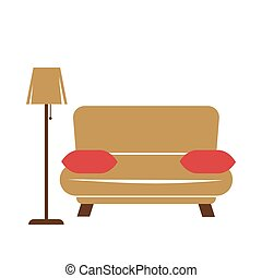 Sofa with pillows and lamp