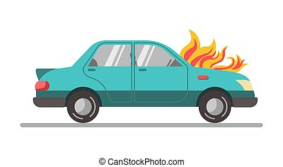 Car with burning engine - Vector illustration of a car with...