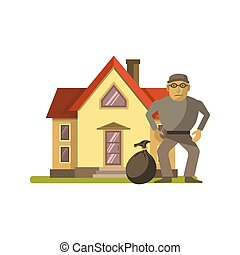 Robber at the house - Vector illustration of robber with bag...