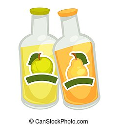 Bottles with fizzy drin - Vector illustration of two soda...