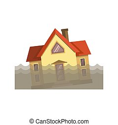 House in dirty water - Vector illustration of residential...
