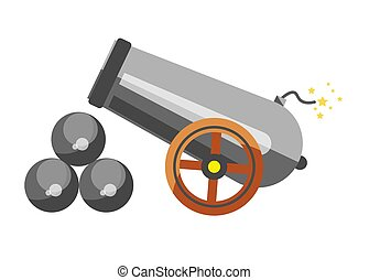 Cannon placed near balls - Vector illustration of a cannon...