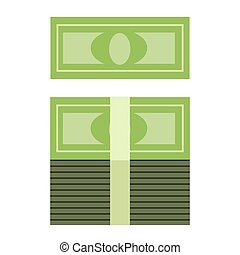 Stack of money in a roll - illustration of green cash placed...