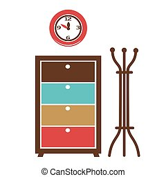 Cabinet in the hall - Vector illustration of a cabinet with...