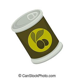 Tinned black olives - Vector illustration of a can of black...