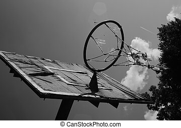 Old rusted basket board,black and white