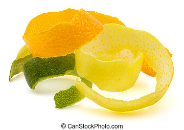 Lemon peel, orange, lime. - The composition of the pieces of...