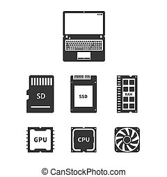 Laptop Hardware Icons - Laptop hardware Icons PC Components....