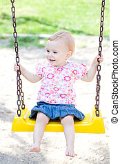 Baby girl outdoor - Small baby girl spending time outdoor on...