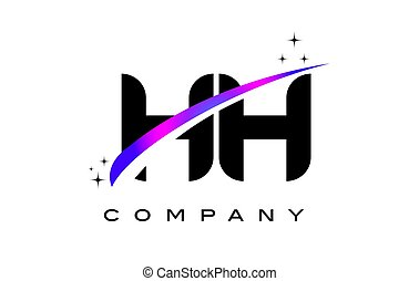 HH H H Black Letter Logo Design with Purple Magenta Swoosh...