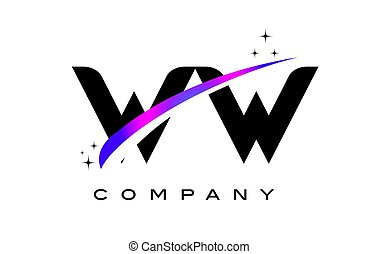 WW W Black Letter Logo Design with Purple Magenta Swoosh and...