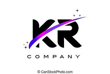 KR K R Black Letter Logo Design with Purple Magenta Swoosh...