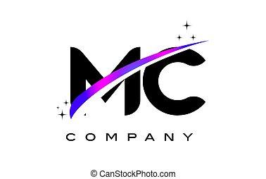 MC M C Black Letter Logo Design with Purple Magenta Swoosh...