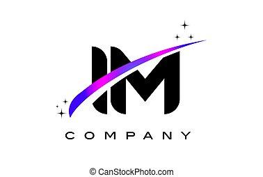 IM I M Black Letter Logo Design with Purple Magenta Swoosh...