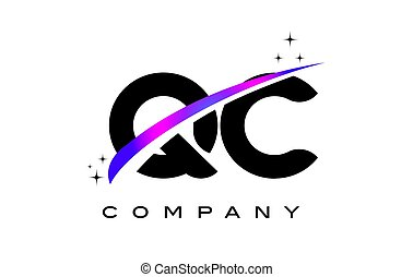 QC Q C Black Letter Logo Design with Purple Magenta Swoosh...