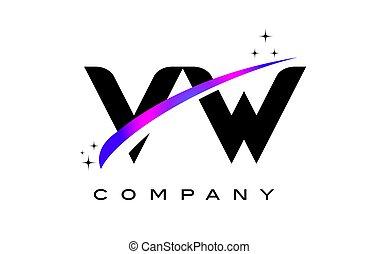 VW V W Black Letter Logo Design with Purple Magenta Swoosh...
