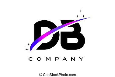 DB D B Black Letter Logo Design with Purple Magenta Swoosh...