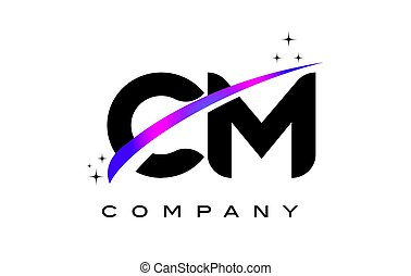 CM C M Black Letter Logo Design with Purple Magenta Swoosh...