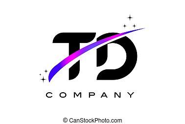 TD T D Black Letter Logo Design with Purple Magenta Swoosh...
