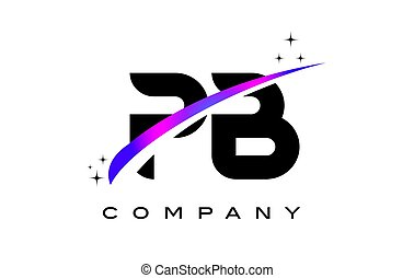 PB P B Black Letter Logo Design with Purple Magenta Swoosh...