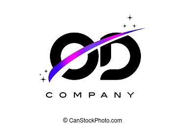 OD O D Black Letter Logo Design with Purple Magenta Swoosh...