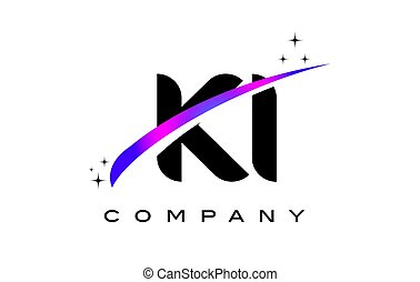 KI K I Black Letter Logo Design with Purple Magenta Swoosh...