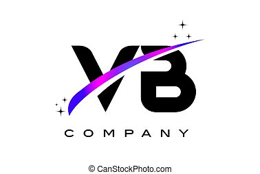 VB V B Black Letter Logo Design with Purple Magenta Swoosh...