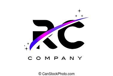 RC R C Black Letter Logo Design with Purple Magenta Swoosh...