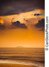 Nature in twilight period, Sunrise or Sunset over the sea with beach