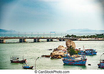 Vietnam. Nha Trang. View of the river Kai and the city -...