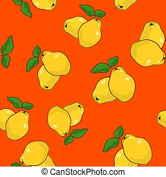 Seamless Pattern , Quince on Orange Background - Seamless...