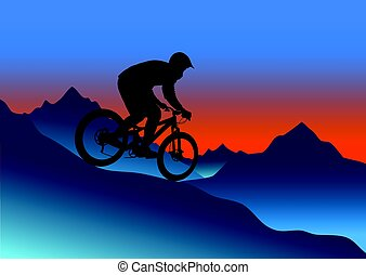 Silhouette of a cyclist riding a mountain bike