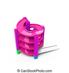 Spiral track in stacking blocks, 3D illustration - Pink...