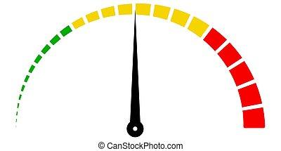 Speed metering icon scale meter broken into sectors, vector...