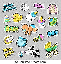 New Born Baby Stickers, Patches, Badges Scrapbook Baby Shower Decoration Set with Stork and Toys. Vector Doodle